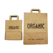 Logo stampato personalizzato eco friendly shopper organico biodegradabile al 100% shopping bag di carta kraft