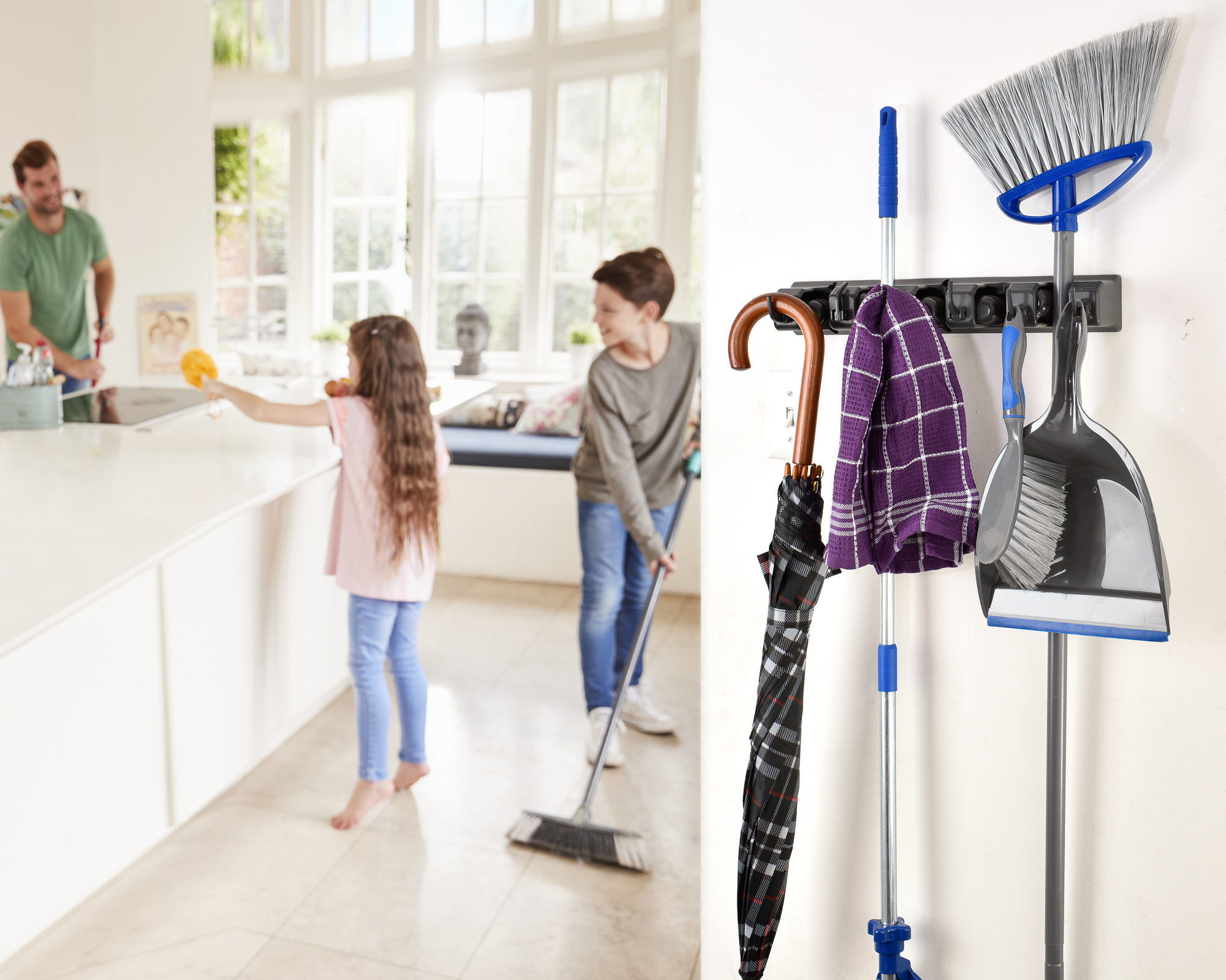 Alpine Industries 3 in. x 16 in. 5-Slot Wall Mounted Mop and Broom Holder