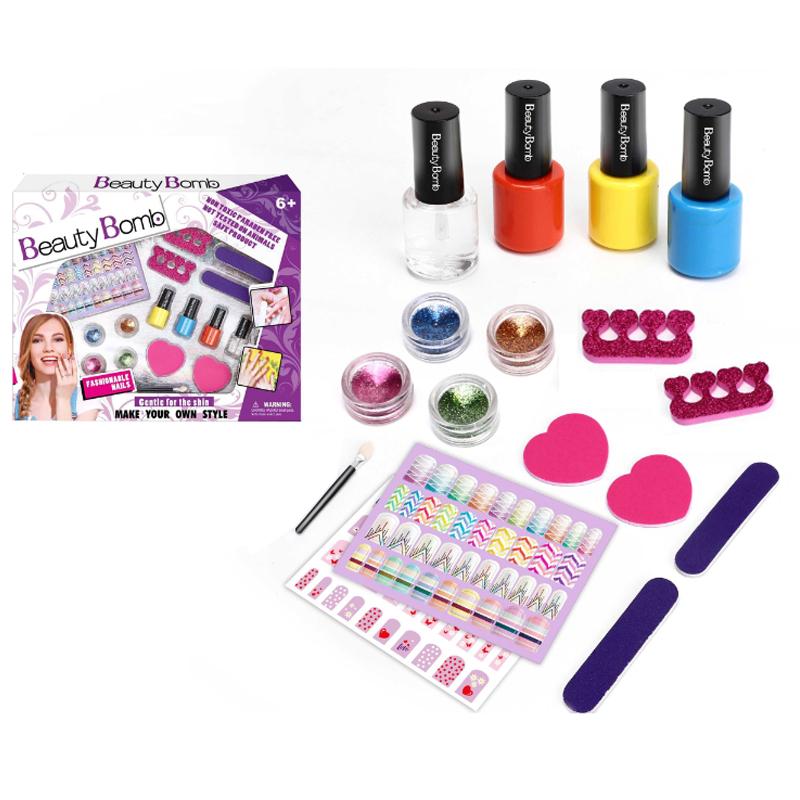 Wholesale DIY Fashion Girls Cosmetics Play Makeup Sets Toy Nail Art Kit Kids Non Toxic Nail Polish