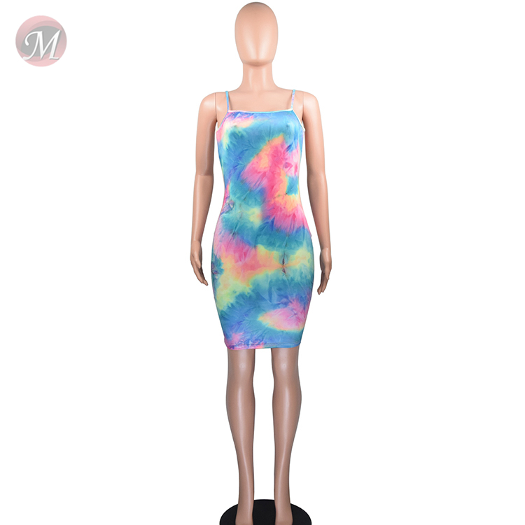 0043036 Wholesale low price newest design hot sell women dresses summer spaghetti strap tie dyed short mini dress for women