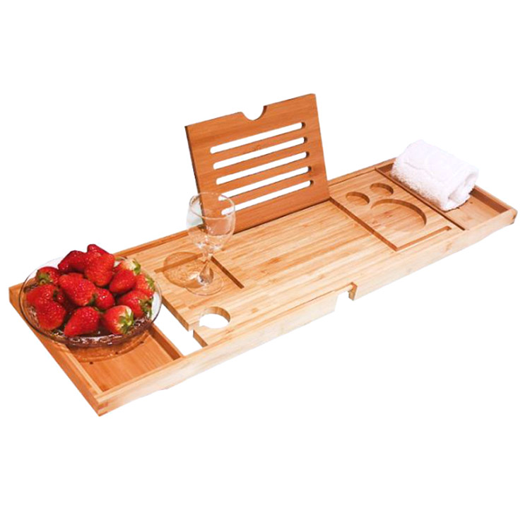 Natural Bamboo Wood Bath Tub Bathtub Caddy Tray With Extendable Arms And Adjustable Legs