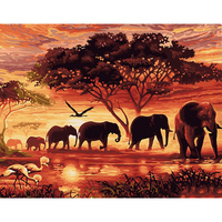 African Setting Sun Scenery Elephant Paint By Number Kits Digital oil painting Animals DIY Acrylic Oil Painting canvas Wall Art