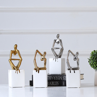2020 new luxury gold silver ceramic figurines office home decor accessories