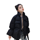 Wholesale women short cotton padded jackets loose fashion coat with stand-collar bell sleeve winter outerwear for ladies girls