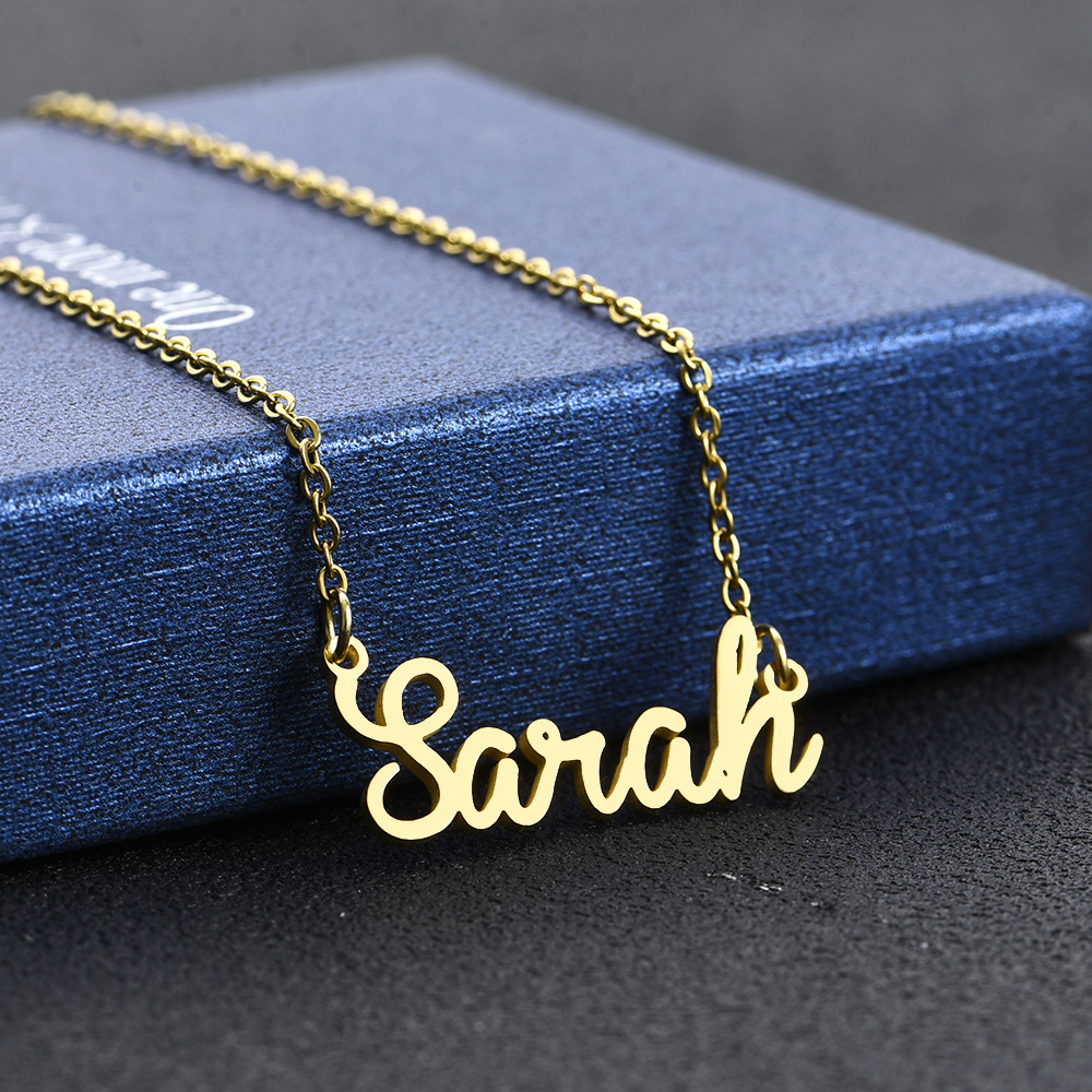 30 names Stainless steel material cursive letter necklace Olivia Sarah Kayla name necklace personalised custom names necklace