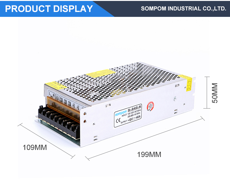 Variable 240W 6V 40A Single Output Switching power supply for LED Strip CNC 3D Print Stepper Motor