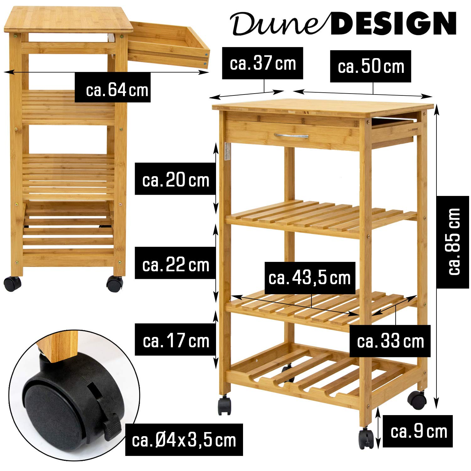 4-Tier Open Shelves Kitchen Island Cart
