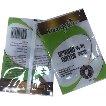 Safety embossed food back center sealed in organic instant coffee powder bags