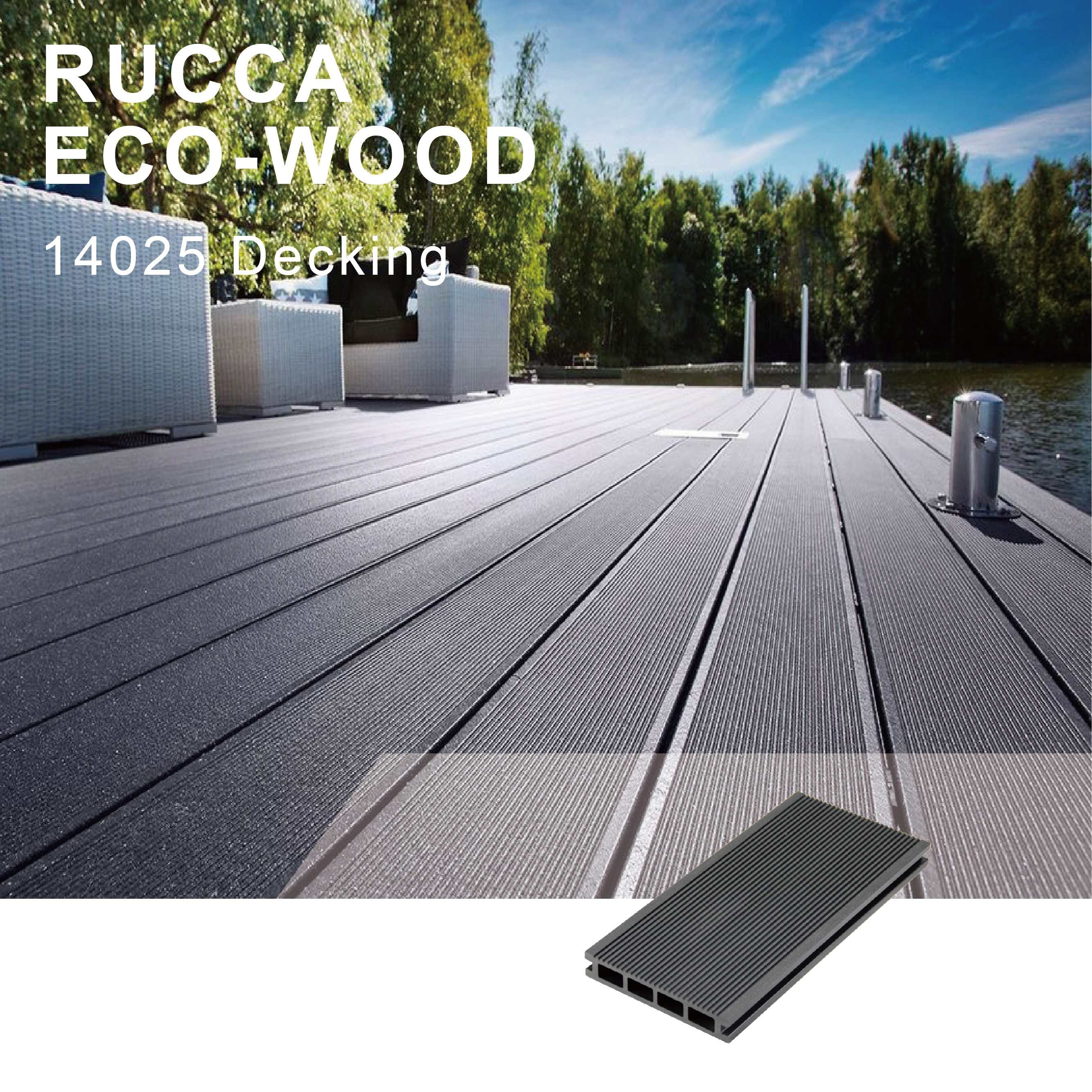 Rucca Grey WPC/PE Wood Plastic Composite Outdoor Engineered Floating Decking
