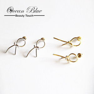 25d03c5bb11cc Customized Korea New Simple Designs Gold Jhumka Handicraft Bowknot Earring