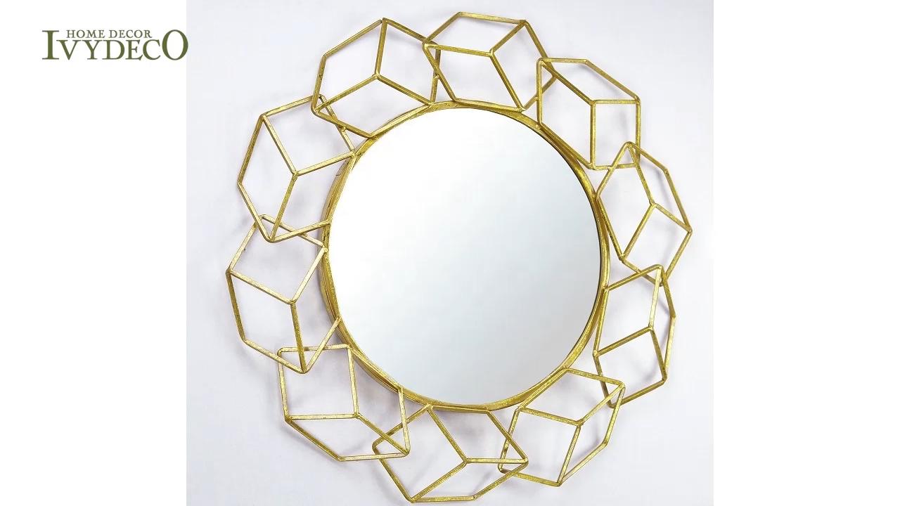 IVYDECO Designer Modern Beauty Decorative 3D metal wall mirror Geometric Frames Gold Mirror
