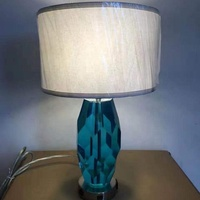 modern high quality blue glass table lamp with USB for hotel home lighting