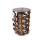 New Design Acacia Wooden Spice Jar Rack Revolving with Stainless Steel lids