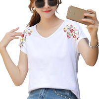 wholesale white t shirt 2020 Spring and summer women short sleeve tshirts embroidery