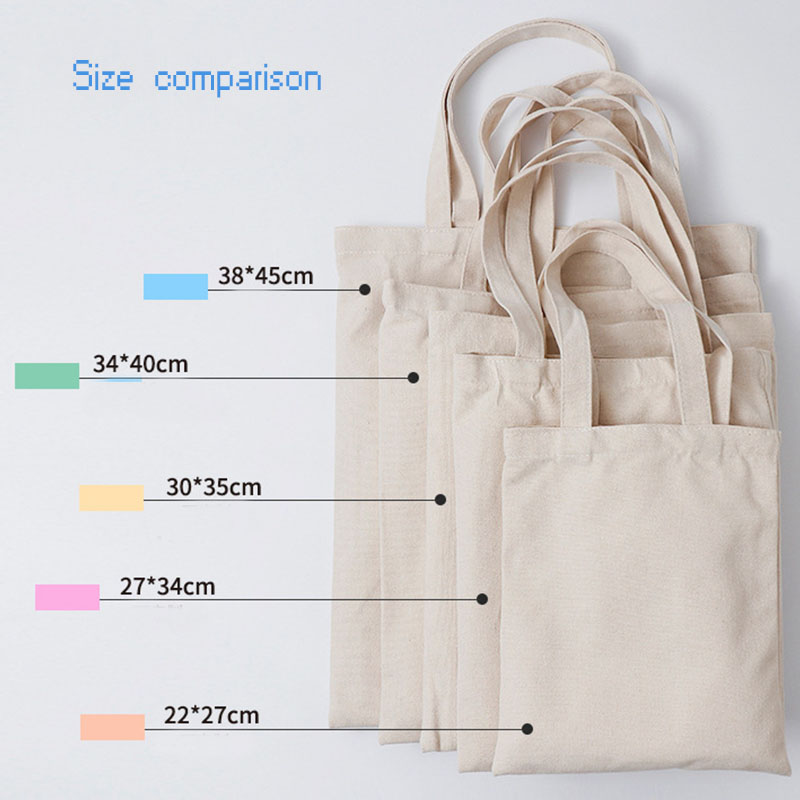 Customized logo printing promotional casual plain white eco friendly reusable shopping canvas cotton tote bag