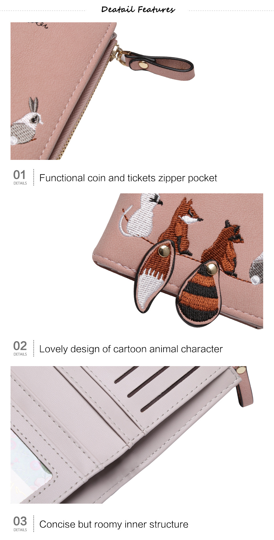 Cartoon Animals Short Small Coin Purse Hasp Zipper Purse Card Holder latest pu leather women wallets