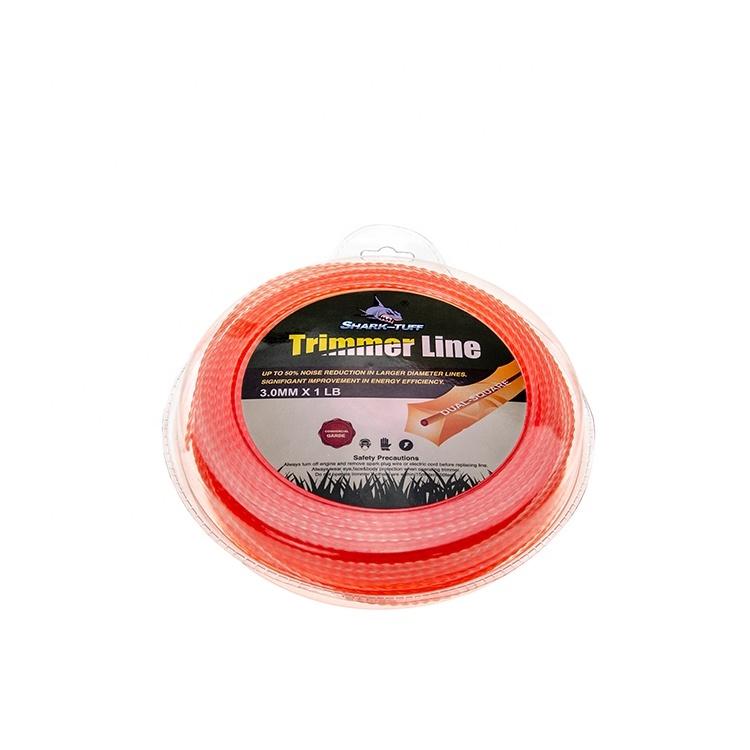 Yüksek kalite 3.0MM 1LB turuncu büküm fırça kesici naylon monofilament çim biçme makinesi hattı