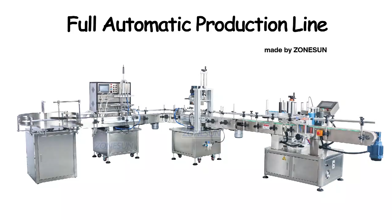 ZONESUN ZS-FAL90 L configuration Automatic Bottle Labeler Liquid Filling Capping And Labeling Machine Plastic Bottle Round