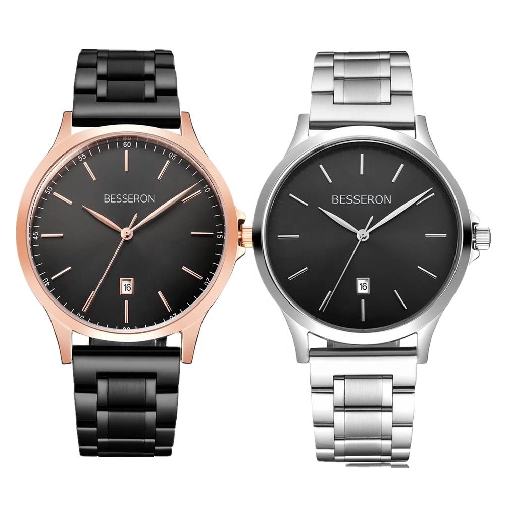 MOQ 50 Full Quality Stainless Steel Metal Mesh Strap Luxury Japan Quartz Date Men Stylish Wrist Watch Mens