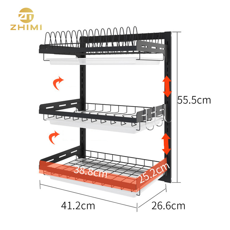 201 Stainless Steel 3 Tiers Wall Mounted Dish Drying Rack Drainer Hanging Rack With PP Water Tray