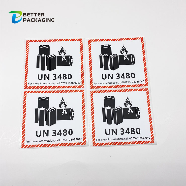 Hot Sale Waterproof Custom Printing Adhesive Battery Sticker Labels