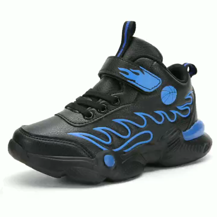 Nouvelle collection garçon sport basket-ball chaussures avec empeigne en pu et semelle extérieure en eva