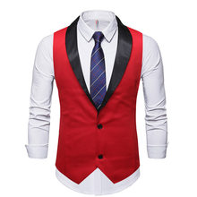 Красный свадебный смокинг для жениха, мужской жилет 2020, брендовый Приталенный жилет с шалевым воротником, мужские вечерние повседневные жи...(Китай)