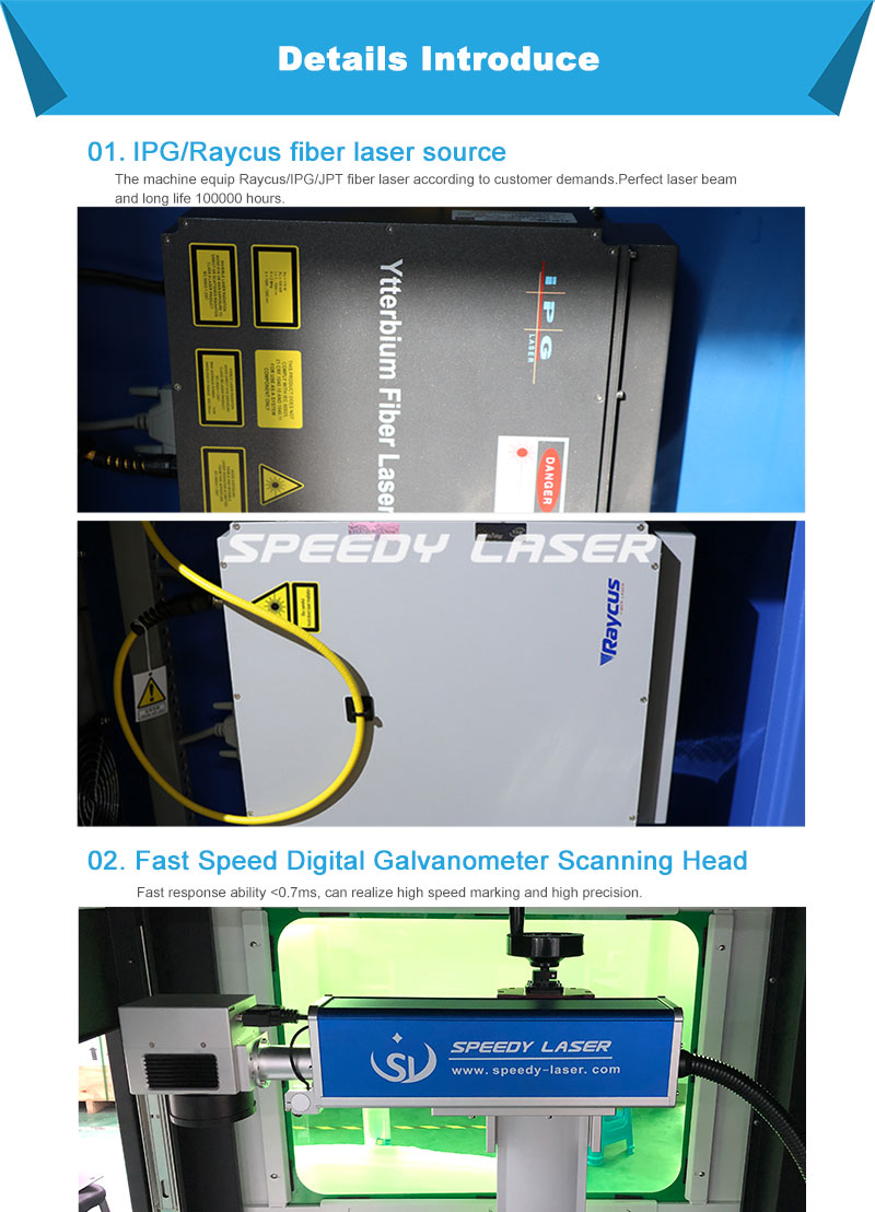 30W 50W 60W100W metal steel IPG laser marking engraving/cutting machine class 4 with Protective cover