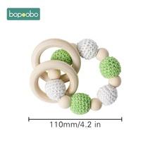 Bopobo 1 шт., Деревянные Игрушки для маленьких безопасный Прорезыватель для зубов, мобильная детская коляска, детская кроватка, кольцо, сделай с...(Китай)