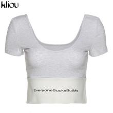 Женская футболка с надписью Kliou, черная облегающая футболка с низкой посадкой и о-вырезом, светоотражающие полоски, летняя повседневная Ули...(Китай)