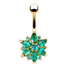 Кольцо из нержавеющей стали для пупка с зеленым цветком и кристаллами, Золотое кольцо для пупка, ювелирные изделия(Китай)