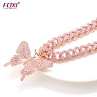 Fashion Insta-Style Iced Out Jewelry Rose Gold Plated Brass Diamond Cuban Chain Big Butterfly Necklace