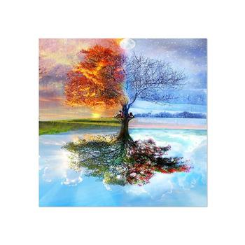 Four Season Tree of Life Custom Handmade Decorative Wall Art Canvas Oil Painting by Numbers For Living Room