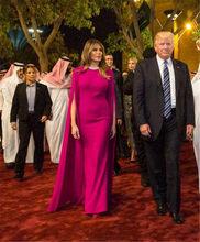 Sevintage фуксия Арабский Знаменитости Вечерние платья с накидкой длиной до пола Дубай красный ковер платье выпускного вечера платья Abendkleider(Китай)
