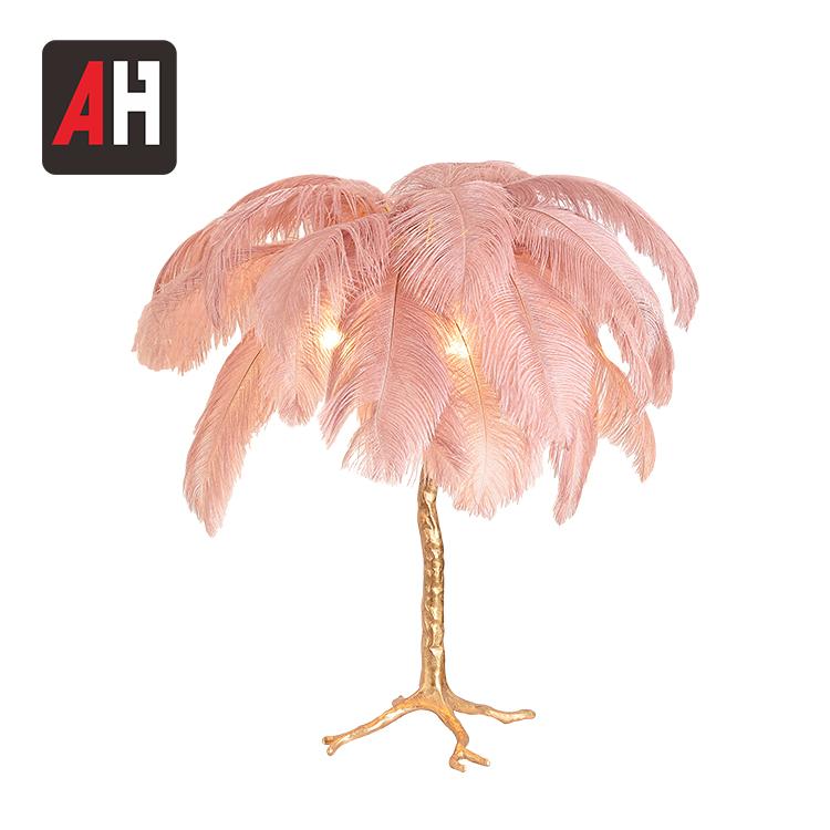 Projeto do hotel moderno fantasia luxo E14 natural pena candeeiro de mesa de cabeceira