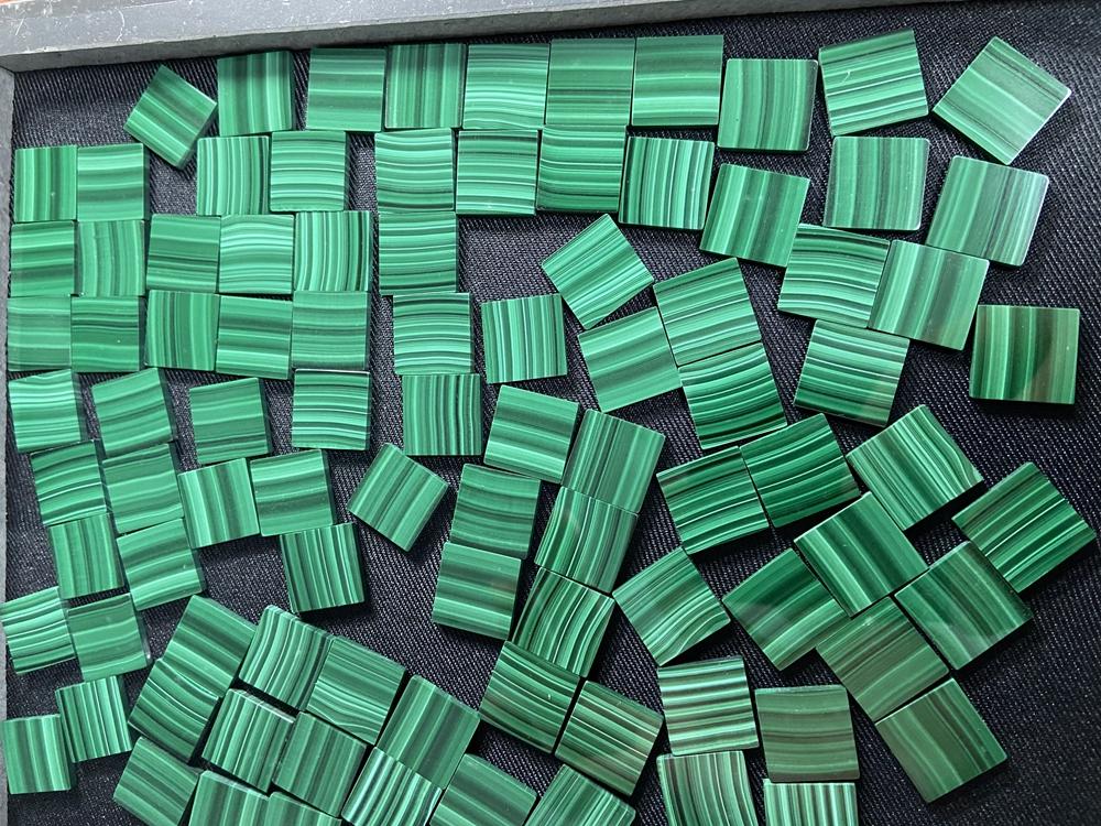 Malachite flat back slice malachite natural stone malachite tiles