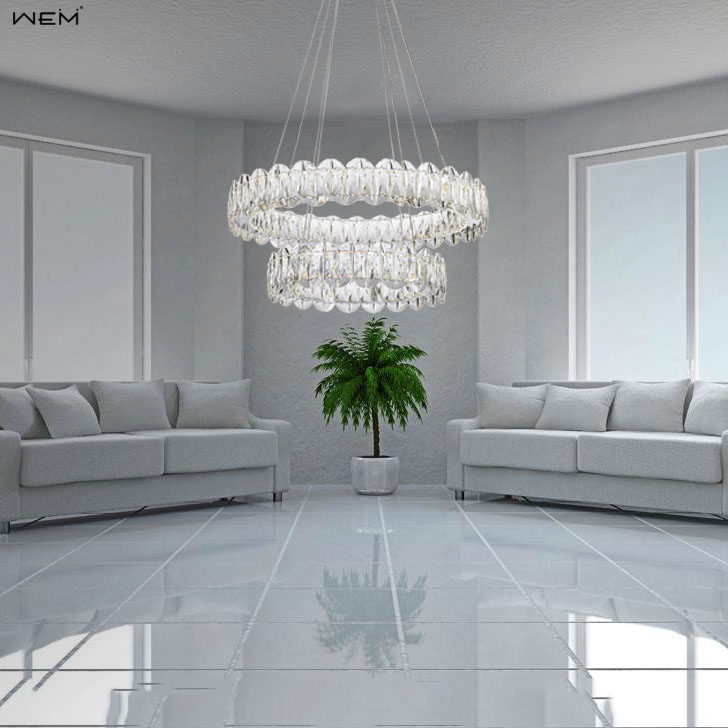 Clear Crystal Lamp Luxury Crystal Chandelier Household Lighting Simple Style Chandelier LED Pendant Lamp