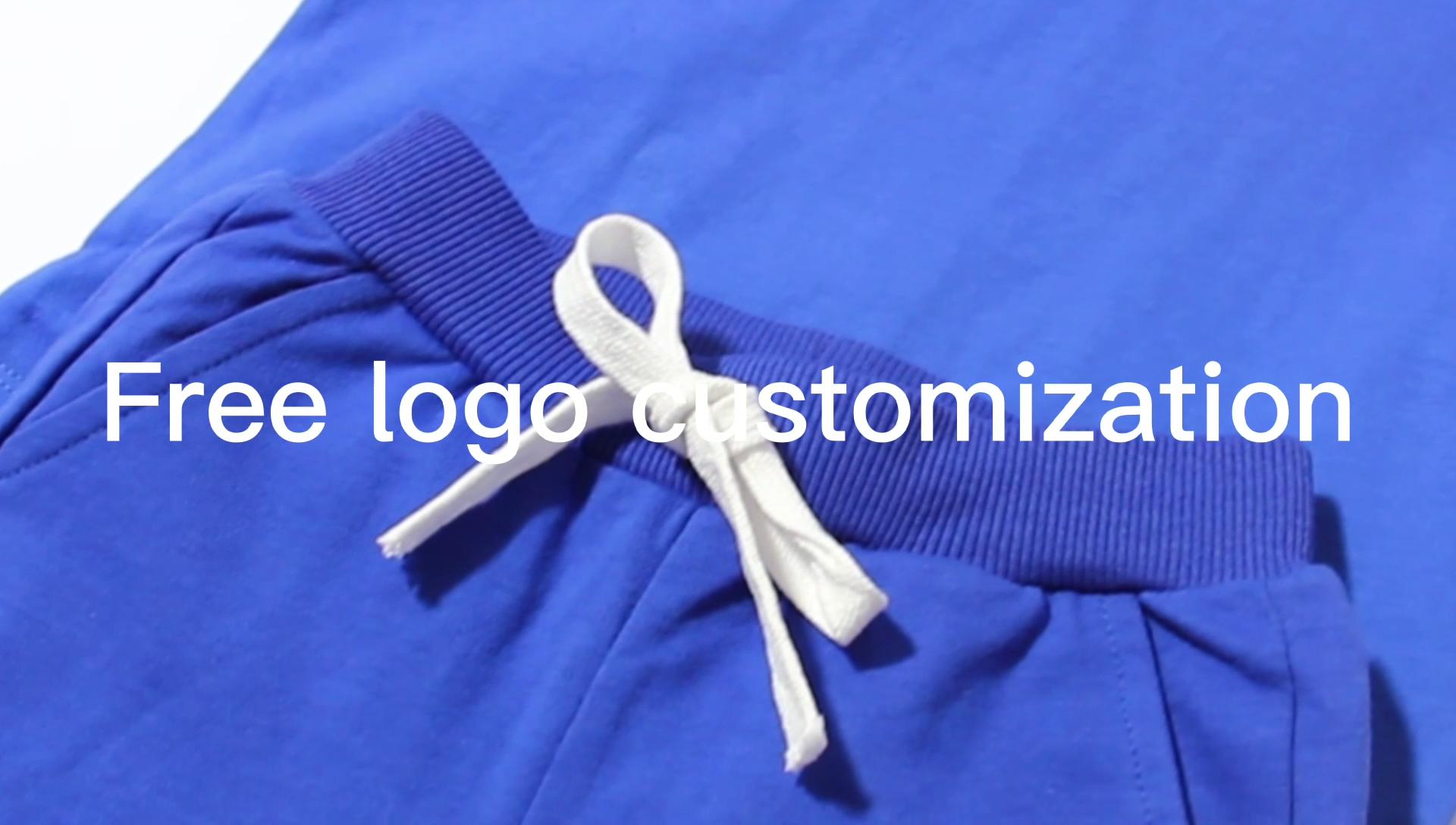 Bilgisayar baskı nakış logo etiketi özelleştirme çocuk giyim seti çocuklar katı renk pamuk örme T-shirt seti özel