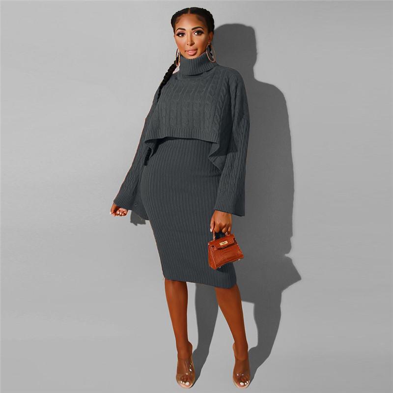 ANJAMANOR, сексуальное платье-свитер, комплект из 2 предметов, женские осенние зимние наряды, костюм для отдыха, одежда для ночного клуба, комплек...(Китай)