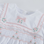 2020 summer short sleeve flower embroidered toddler christening smocking romper newborn baby clothes