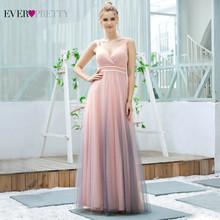 Розовые платья для выпускного вечера для женщин Ever Pretty EP00621 новый дизайн А-линия V шеи жемчуг длинное свадебное платье 2020 Vestido De Mujer(China)