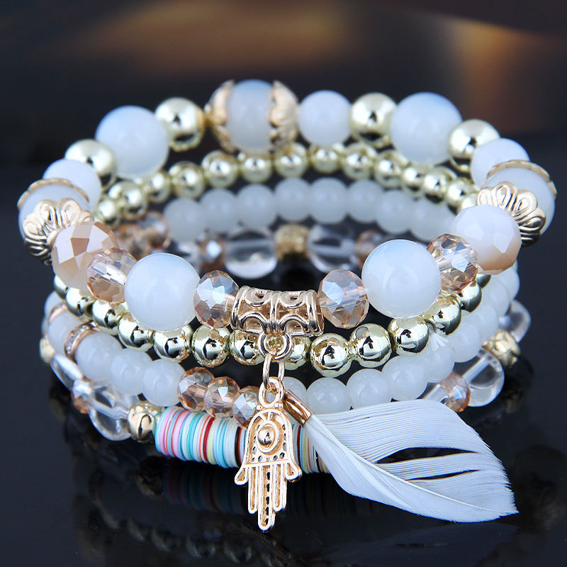 Trade assurance Bohemian fashion multi-layer rope handmade beaded bracelet natural shell beads stretch bracelet for girls gifts
