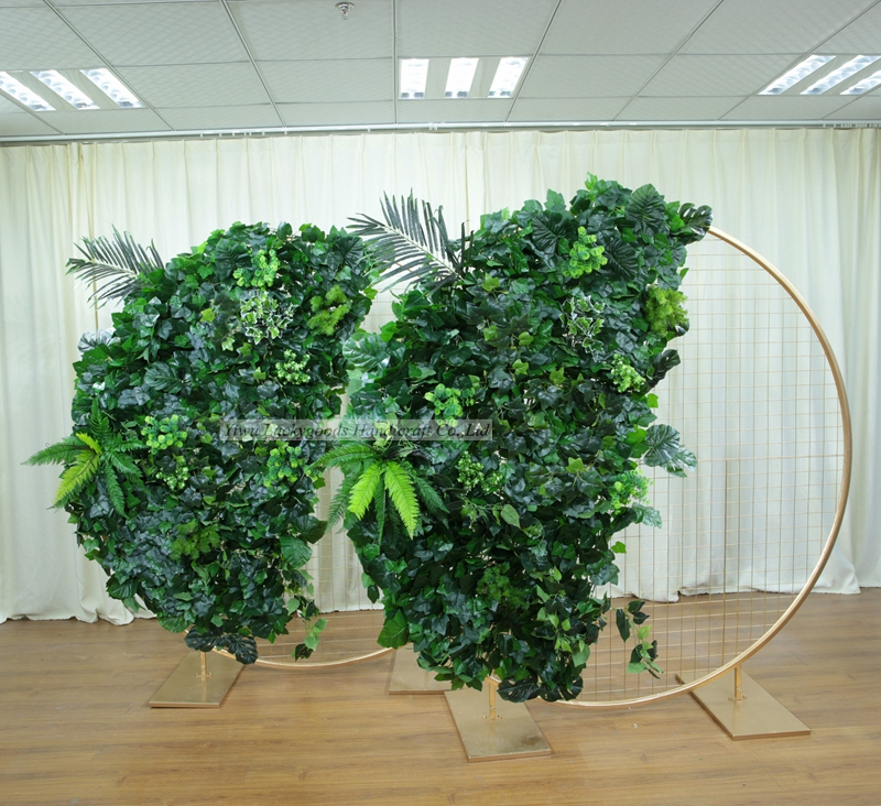 LFB1472 Luckygoods customized artificial silk plant round wedding stage backdrop