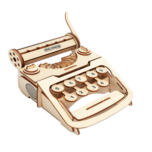 mookids Educational Hobbies Gift DIY 3D Wooden Typewriter Puzzle Game Children Kids Natural Color Toy Model Building Kits