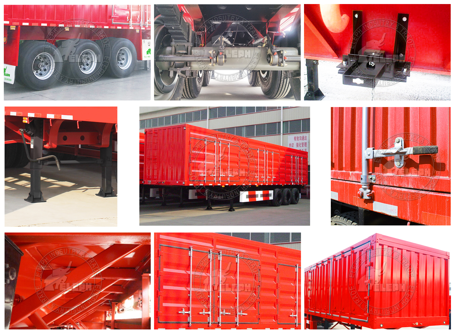 China Manufacturer Cargo Box 3 Axles Semi Truck Trailer