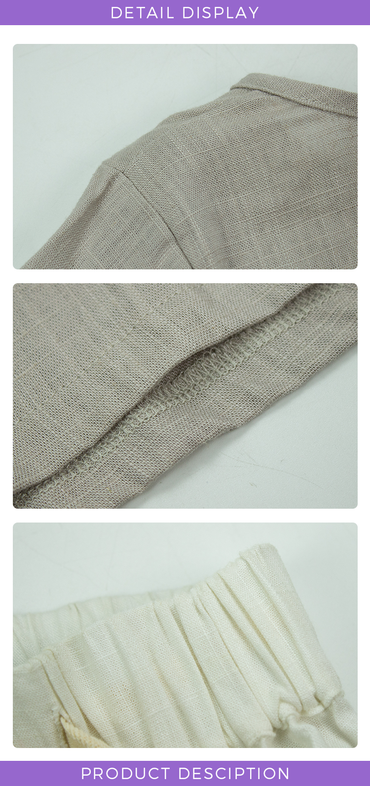 Linen Fabric Garments OEM Service Handmade Long Sleeve Shirt Harem Pants Children 2PC Outfit