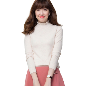 Formal high quality women turtleneck solid color knit sweater for autumn winter