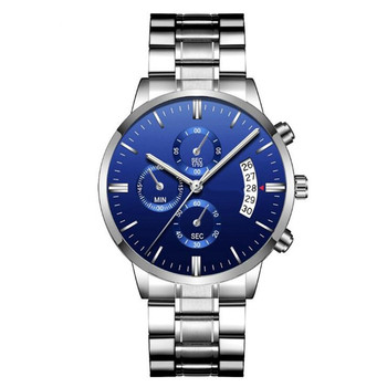 Luxury calendar mens watches bule dial business stainless steel in wrist watch