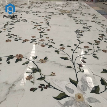 Luxury waterjet stone cutting square marble floor inlay flooring flower design,square water jet medallion