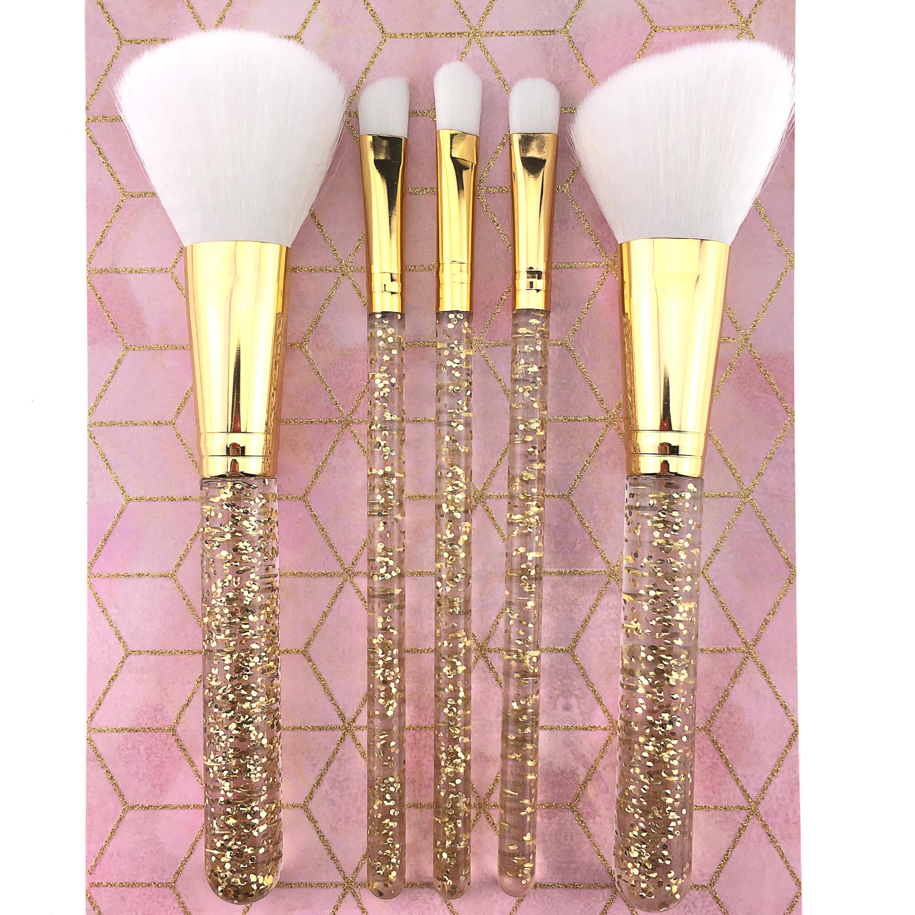 Private ярлык высокого качества нейлоновый блеск пластиковая ручка 5 шт набор кистей для макияжа Логотип роскошный набор розовое золото Косметическая кисть